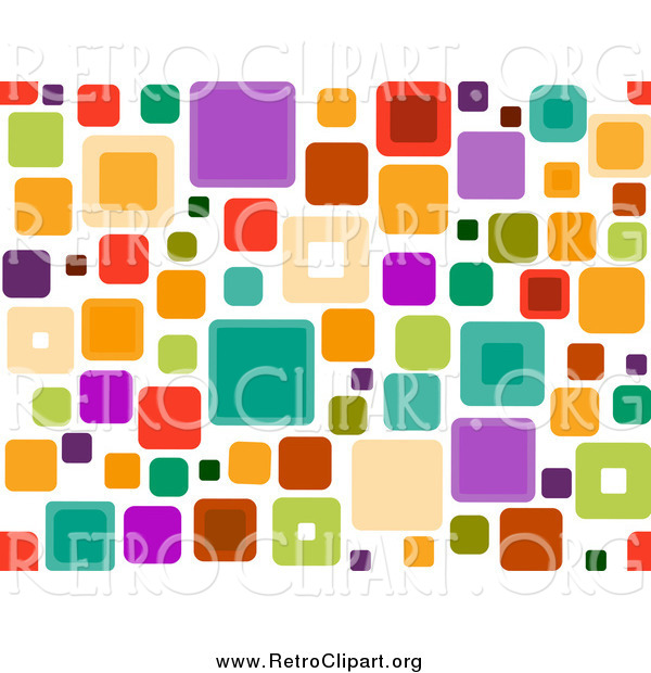 Clipart of a Retro Funky Seamless Pattern of Squares over White