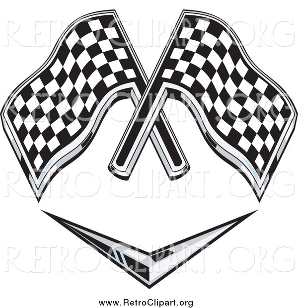 Clipart of a Retro Grayscale Racing Flags over a Chevron Symbol