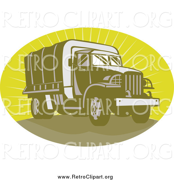 Clipart of a Retro Green Army Truck in an Oval of Rays