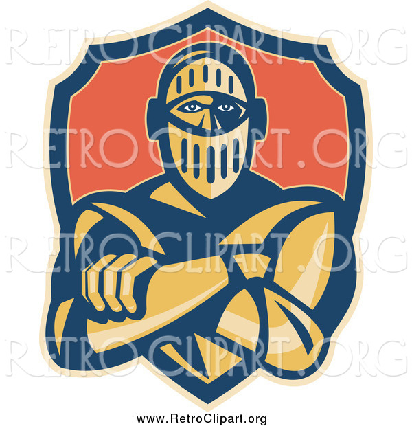 Clipart of a Retro Knight with Folded Arms and a Shield