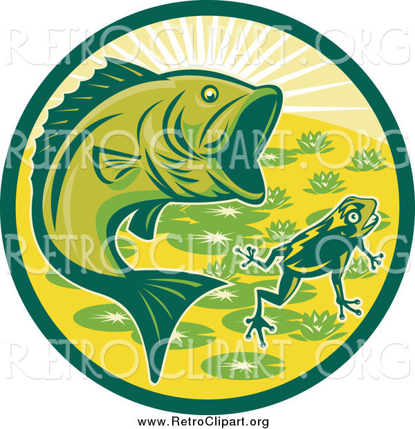 Clipart of a Retro Largemouth Bass and Frog Circle