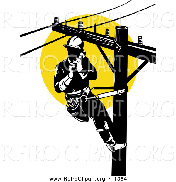 Clipart of a Retro Lineman on a Pole Against a Sunset