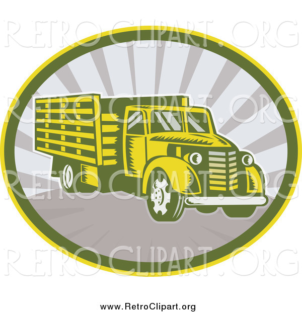 Clipart of a Retro Lorry Truck in an Oval of Rays