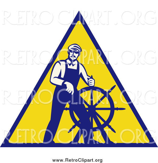 Clipart of a Retro Male Captain Steering a Helm on a Yellow Sign