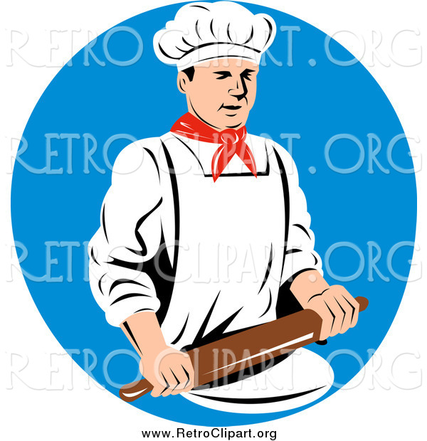 Clipart of a Retro Male Chef Using a Rolling Pin over a Blue Circle