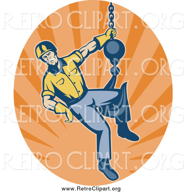 Clipart of a Retro Male Construction Worker Logo and Hook