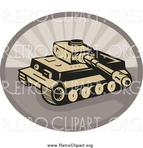 Clipart of a Retro Military Tank over an Oval