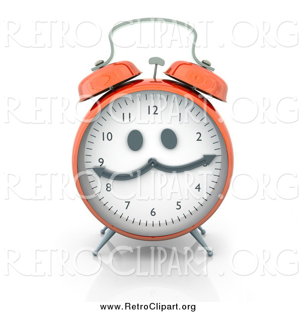 Clipart of a Retro Orange Alarm Clock with a Face