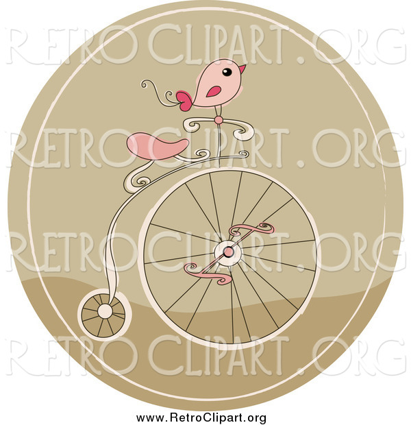 Clipart of a Retro Pink Bird on a Penny Farthing Bicycle in a Brown Circle