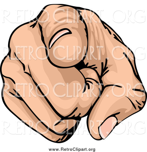 Clipart of a Retro Pointing Finger