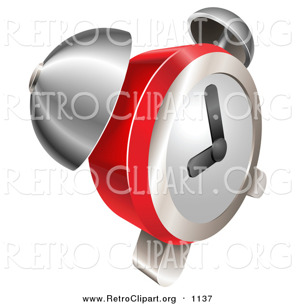 Clipart of a Retro Red and Chrome Bell Alarm Clock