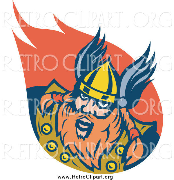 Clipart of a Retro Red Haired Viking Man and Flame