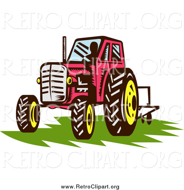 Clipart of a Retro Red Tractor over Grass