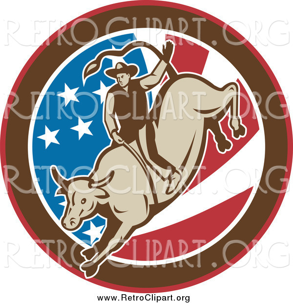 Clipart of a Retro Rodeo Cowboy Riding a Bull in an American Flag Circle