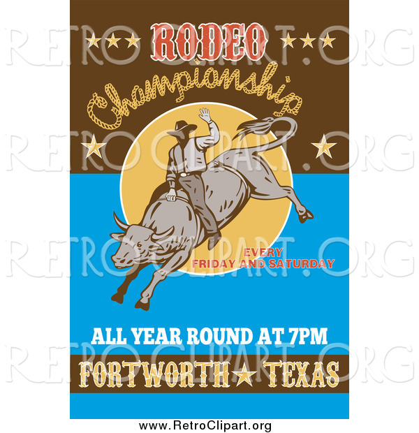 Clipart of a Retro Rodeo Poster