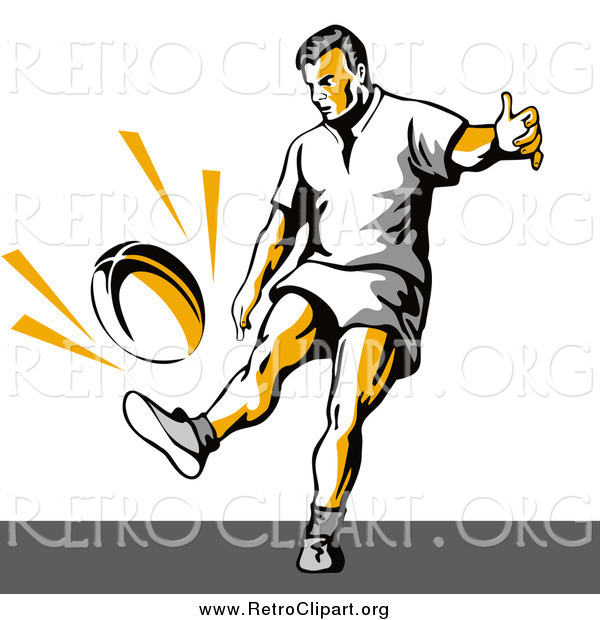 Clipart of a Retro Rugby Football Player Kicking
