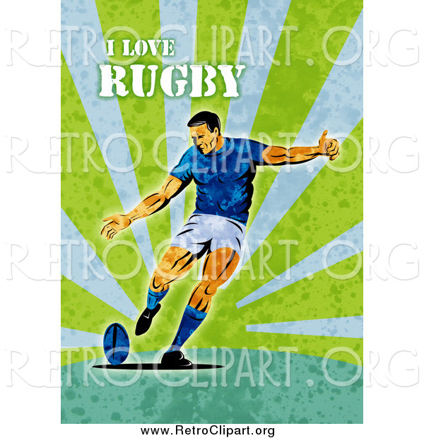 Green Rugby Player: Clipart Of A Retro Rugby Player On Green Grunge With Text