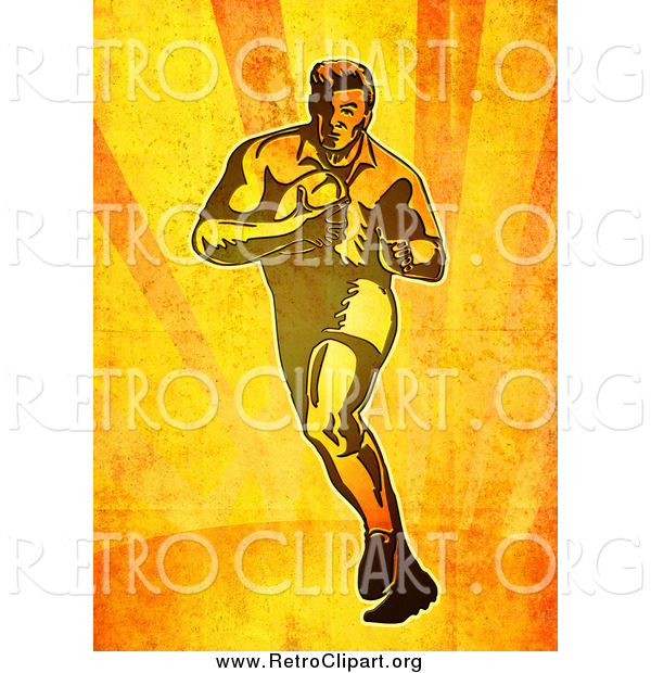 Clipart of a Retro Rugby Player Running on Orange