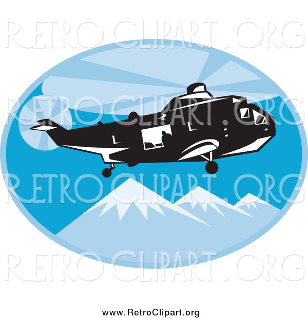Clipart of a Retro Search and Rescue Helicopter Above Mountains