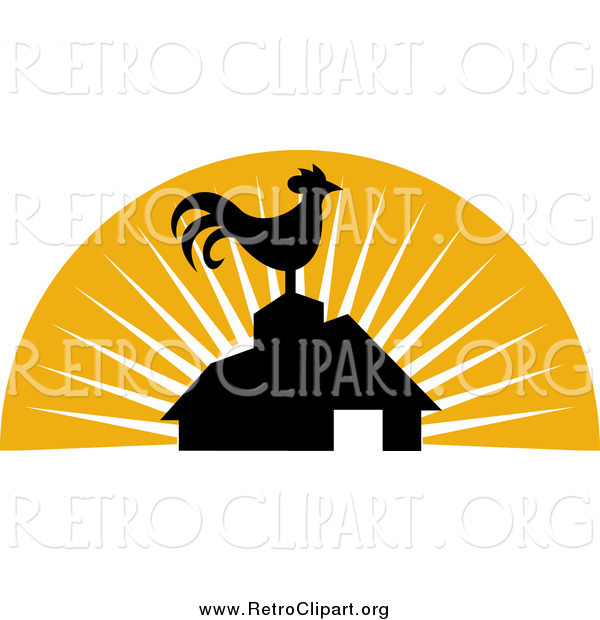 Clipart of a Retro Silhouetted Rooster Atop a Barn