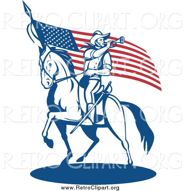Clipart of a Retro Soldier Playing a Trumpet on Horseback by an American Flag