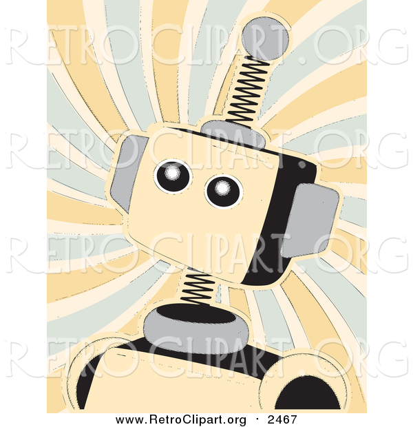 Clipart of a Retro Springy Beige Robot over Swirls