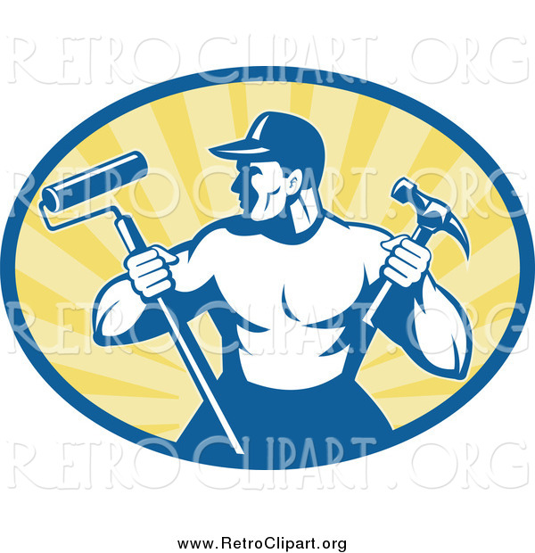 Clipart of a Retro Strong Handyman Holding a Paint Roller and Hammer