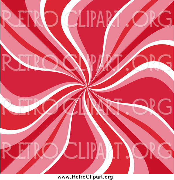 Clipart of a Retro Swirl Background of Red, Pink and White
