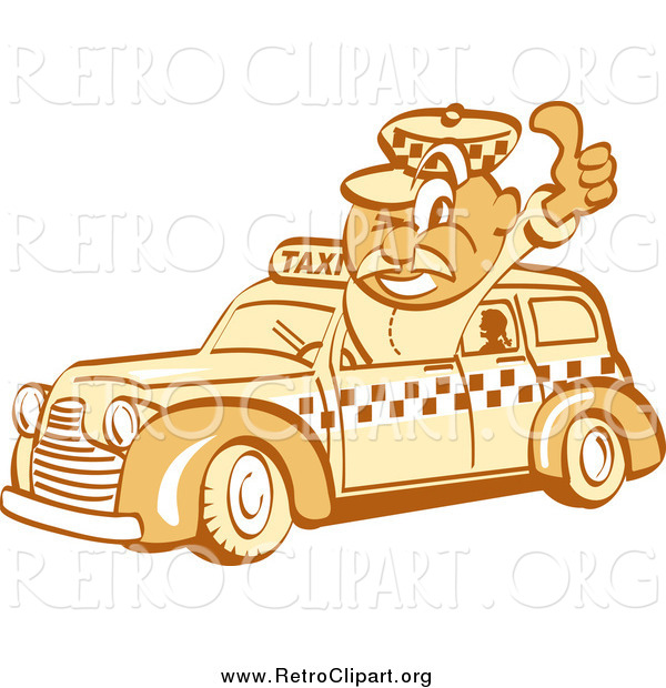 Clipart of a Retro Thumbs up Taxi Driver Guy
