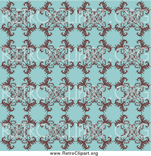 Clipart of a Retro Turquoise Background with a Floral Pattern
