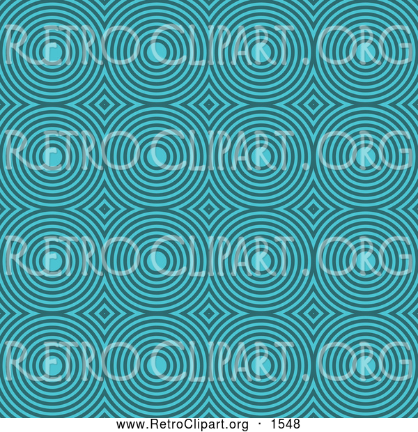 Clipart of a Retro Turquoise Circle Pattern