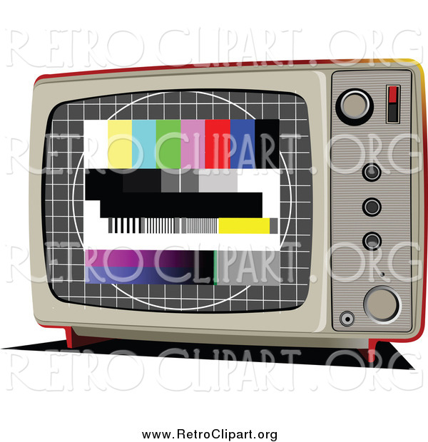 Clipart of a Retro TV with Test Screen