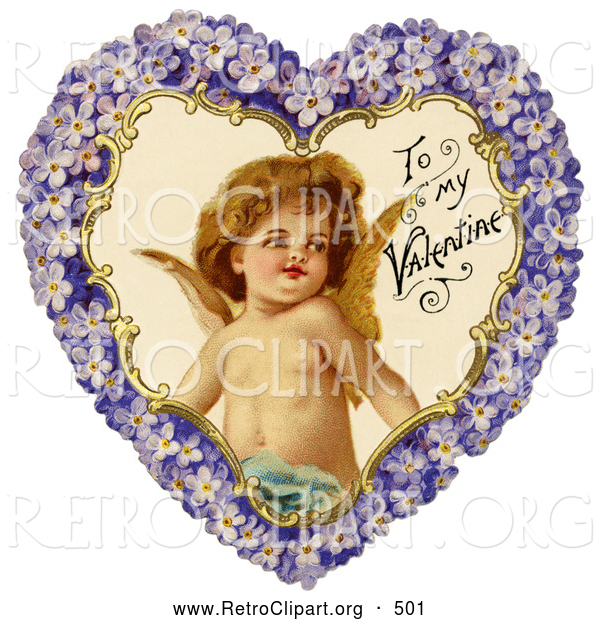 Clipart of a Retro Valentine of Cupid Smiling Inside a Purple Floral Forget Me Not Heart, Circa 1890