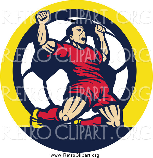 Clipart of a Retro Victorious Male Athlete Cheering on His Knees over a Soccer Ball in a Circle
