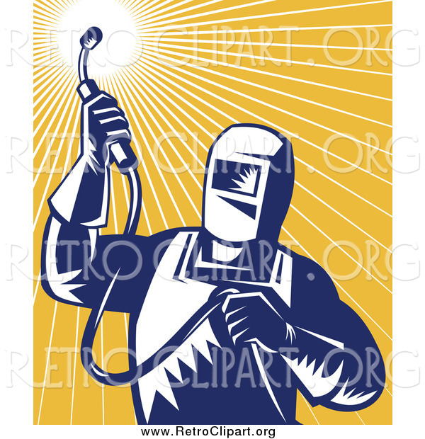 Clipart of a Retro Welder Worker Against Orange Rays