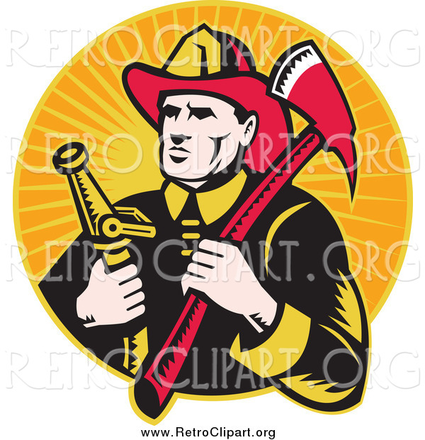 Clipart of a Retro White Male Fireman with an Axe and Hose over Orange Rays