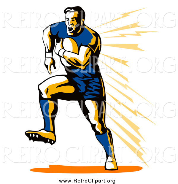 Clipart of a Retro White Male Rugby Football Player Running
