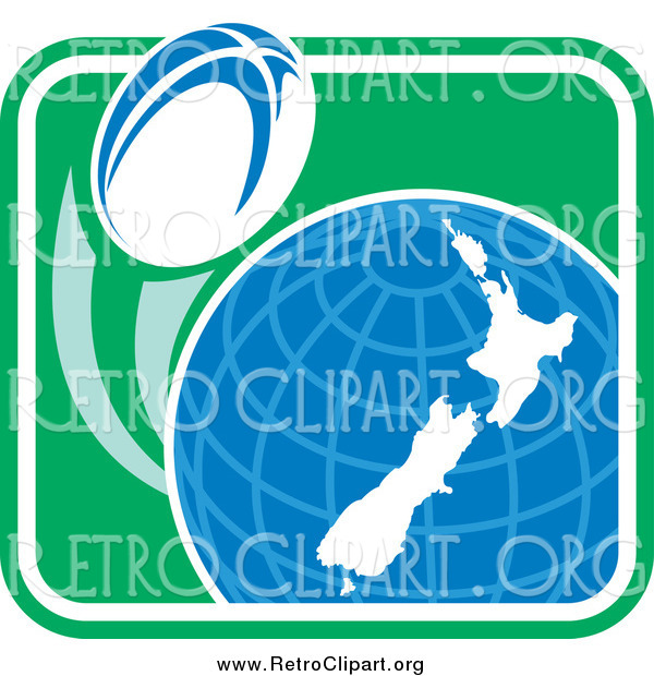 Clipart of a Rugby Ball Flying Around a New Zealand Globe in a Retro Green Square