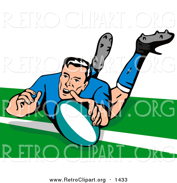 Clipart of a Rugby Football Player