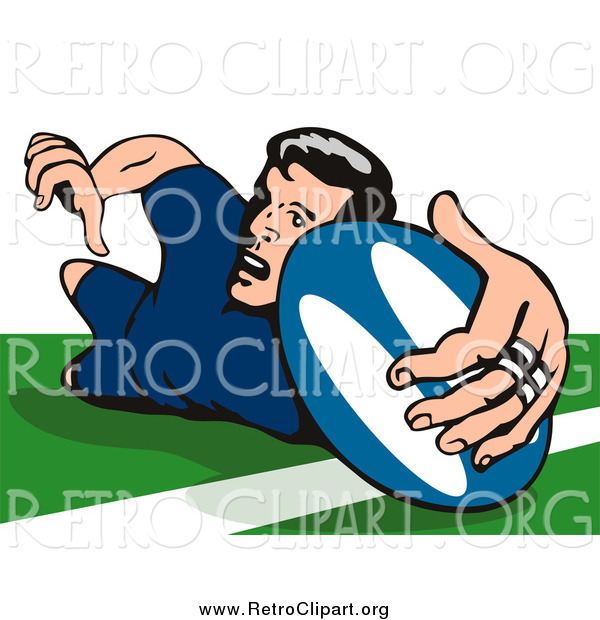 Clipart of a Rugby Football Player Falling