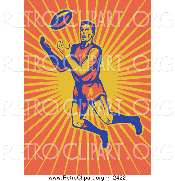 Clipart of a Rugby Player Jumping over Sun Rays to Catch a Ball