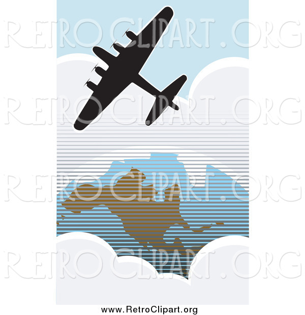 Clipart of a Silhouetted American Bomber Aircraft over the USA