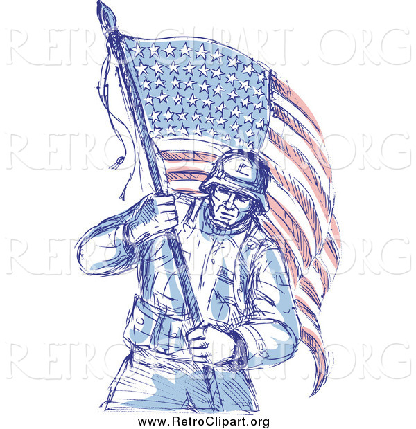 Clipart of a Sketched Patriotic Soldier Carrying an American Flag