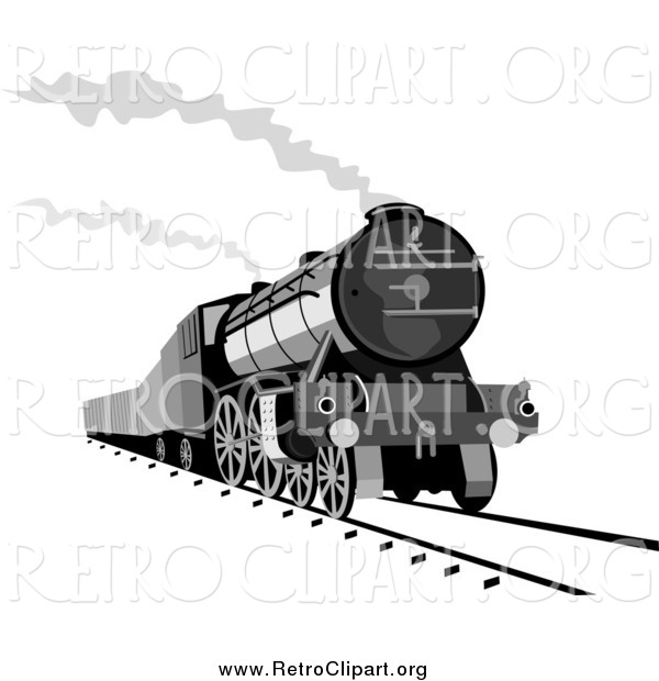 Clipart of a Steam Engine Releasing Steam