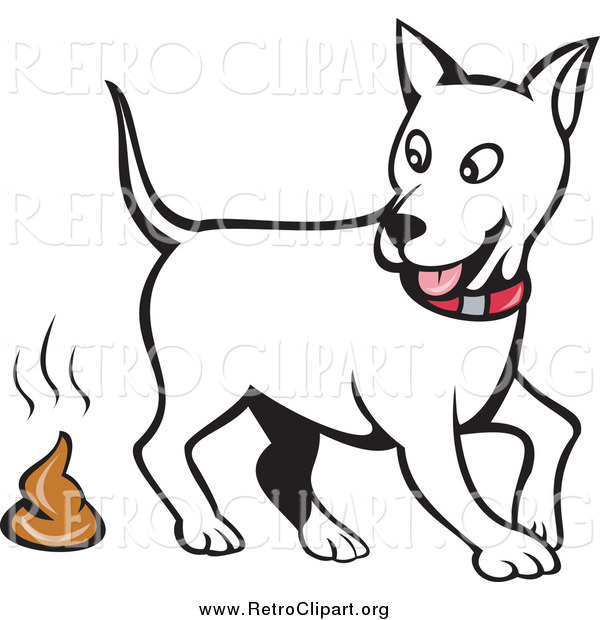 Clipart of a White Dog Looking Back and Pooping