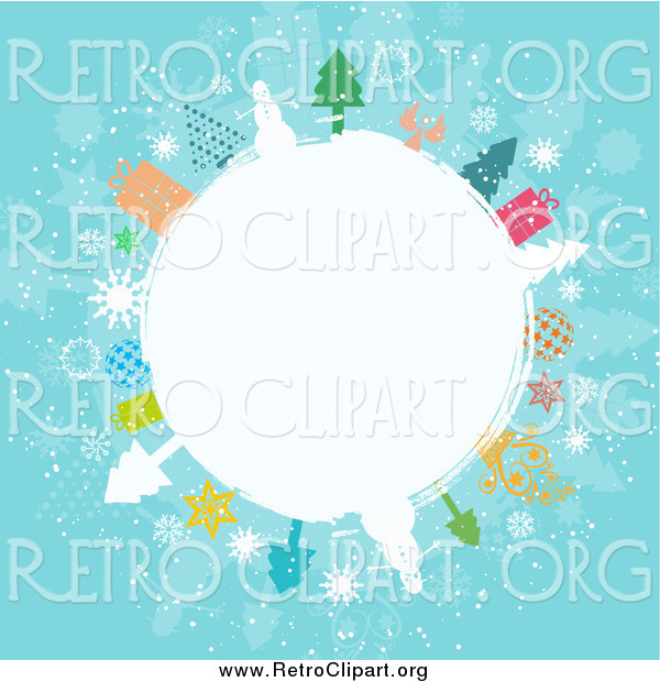 Clipart of a Winter Globe Circled in Snowmen, Trees, Angels, and Gifts on Blue