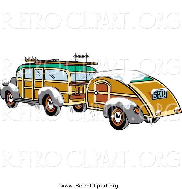 Clipart of a Winter Woody Sedan Car with Skis and a Trailer