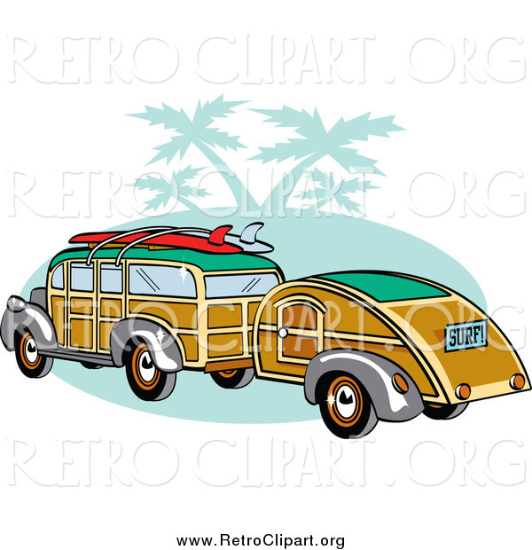 Clipart of a Woody Car with Surfboards on the Roof, Pulling a Trailer over Green with Palm Trees