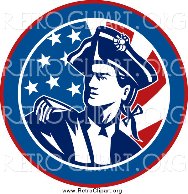 Clipart of an American Revolutionary War Soldier over a Retro Flag Circle