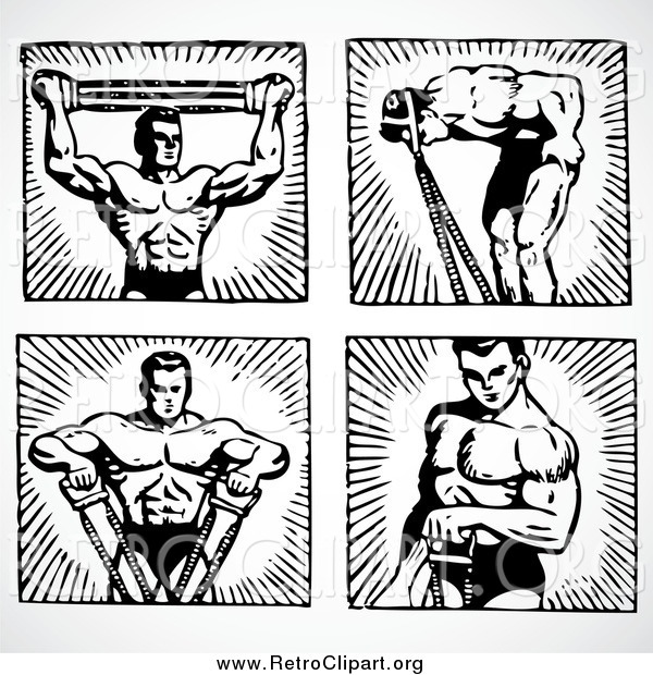 Clipart of Black and White Male Body Builders